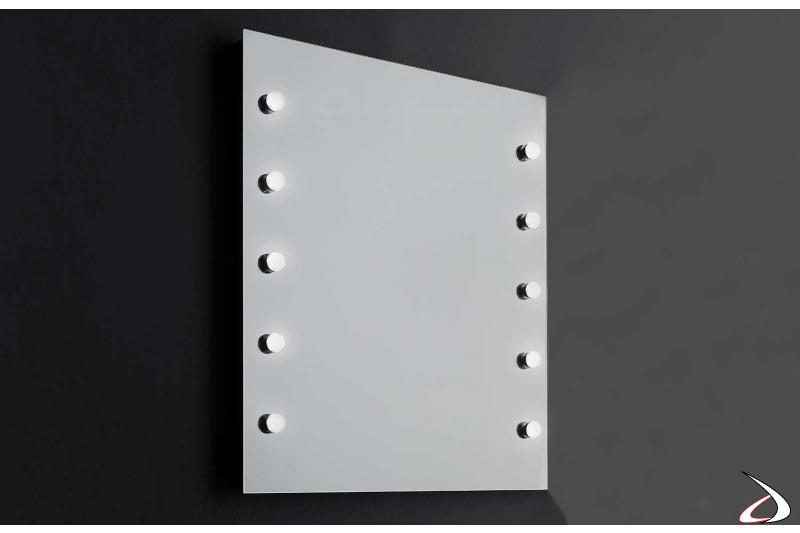 Specchio per trucco illuminato di design con luci led