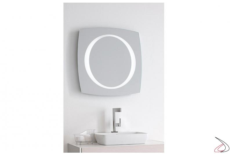 Specchio di design da bagno con luce led e antiappannamento