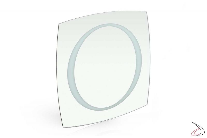Specchio quadrato moderno da bagno retroilluminato