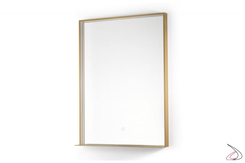 Specchio moderno verticale retroilluminato con mensola e funzione antiappannamento