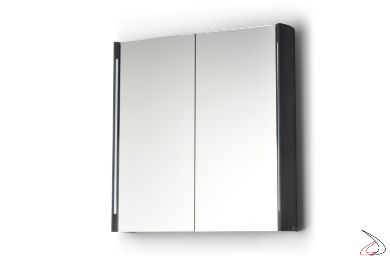 Specchiera contenitore retroilluminata con struttura in alluminio nero