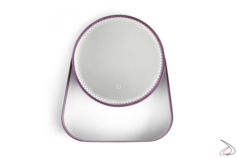 Specchiera di design da bagno rotonda con illuminazione a led e interruttore touch