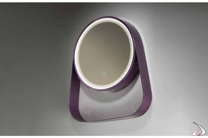 Specchio viola di design rotondo da bagno con mensola e perimetro illuminato a led