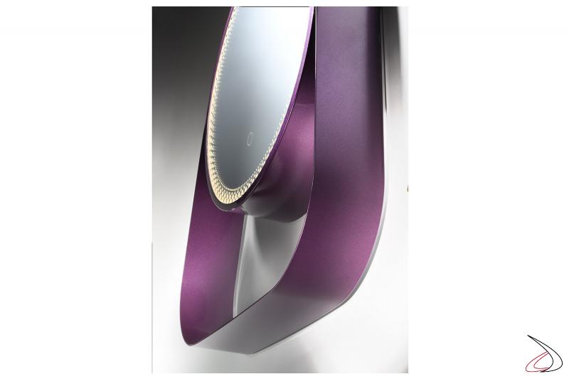 Specchio laccato ral viola con mensola e illuminazione led con interruttore touch