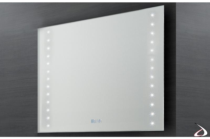 Specchio da parete di design con orologio e luci led