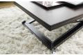 Tavolino trasformabile in legno con gambe in acciaio rivestite in cuoio