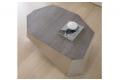 Tavolino basso da salotto in legno rovere grigio e alluminio satinato