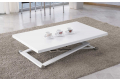 Tavolino trasformabile moderno bianco con struttura in acciaio e cuoio