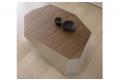 Tavolino moderno in legno noce canaletto e alluminio satinato