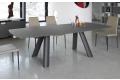 Tavolo di design allungabile in cristallo grigio opaco acidato