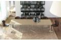 Tavolo cristallo allungabile con gambe cromate per sala da pranzo