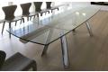 Tavolo da pranzo allungabile in cristallo trasparente con gambe cromate