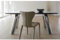 Tavolo allungabile da soggiorno in vetro con gambe cromate