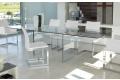 Tavolo in cristallo trasparente allungabile di design da soggiorno