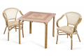 Arredamento da bordo piscina con tavolo e sedie verniciate deco-bambù