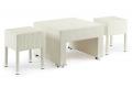tavolino e sgabelli in vimini sintetico colore bianco