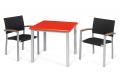 Arredo da giardino esterno con tavolo e sedie verniciate grigio con schienale e seduta colore antracite