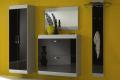 Entrata modello Orbit composta da armadio, scarpiera, specchiera e appendiabiti con frontale in vetro nero