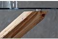 Basamento in legno massiccio e piano rotondo in vetro