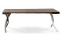 Tavolo consolle da soggiorno di design con gambe intrecciate e piano in legno