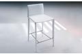 Sgabello moderno prodotto da Bontempi con struttura acciaio rivestita in cuoio bianco.
