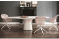 Tavolo di design ellittico da soggiorno con gamba centrale e piano in cemento