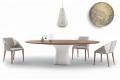Tavolo ellittico di design con gamba centrale in cemento e piano in legno