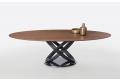Tavolo di design ovale con piano in legno impiallacciato noce e basamento ad anelli argento naturale