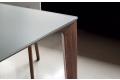 Tavolo design elegante con piano in cristallo e gamba in legno massello