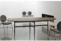 Tavolo soggiorno ovale in legno con basamento incrociato