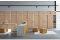 Armadiatura ufficio moderna a parete con ante scorrevoli e sopralzo