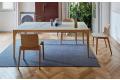 Sedia made in Italy in legno rovere naturale da soggiorno con cuscino in ecopelle