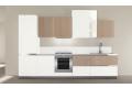 Composizione 10, cucina con ante in finitura laccato opaco bianco + agha e modulo a giorno laccato lucido bianco