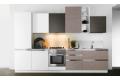 Composizione 00, cucina con ante in finitura laccato opaco bianco + matrix bamboo + matrix rovere grigio, elemento a giorno laccato lucido bianco