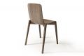 Sedia da soggiorno in rovere smoke di design con sedile in legno curvato