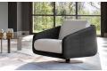 Poltrona di design bicolore in tessuto da salotto con seduta girevole