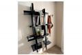 Pensile libreria verticale sospesa a parete soggiorno con ante a specchio