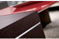 Tavolino moderno in legno da salotto con ripiano in vetro rosso