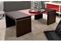 Tavolino in legno da fronte divano con ripiano in vetro rosso