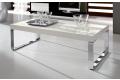 Tavolino moderno bianco lucido con gambe a slitta cromate