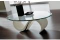 Tavolino ovale in vetro bisellato con basamento in marmo bianco