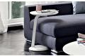 Tavolino bianco rotondo in legno da divano senza bracciolo