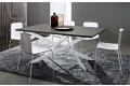 Tavolo con basamento in metallo bianco e piano in fenix grigio Londra