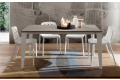 Tavolo con piano in hpl grigio e struttura in metallo laccata bianca