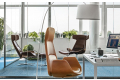 Poltrone di design lounge da ufficio presidenziale con poggiapiedi
