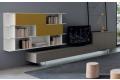 Soggiorno moderno con libreria e base porta tv