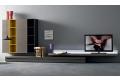 Mobile soggiorno moderno composto da pensili, basi e pianale con illuminazione porta tv