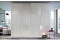 Armadio in vetro bianco e in legno frassino bianco di design a 2 ante scorrevoli grandi