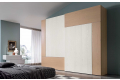 Armadio di design per camera da letto con 2 ante scorrevoli in legno frassino bicolore