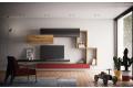 Soggiorno design sospeso a parete in legno e laccato opaco